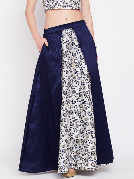 Dupion Hand Block Printed Layered Skirt