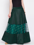 Dupion & Net Sequins Embroidered Panelled Skirt