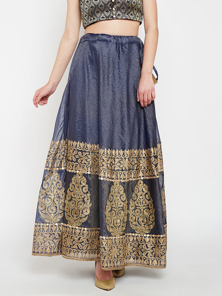 Kota Zari Hand Block Printed Embroidered Skirt