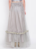 Net Speckled Lace Embellished Tiered Skirt