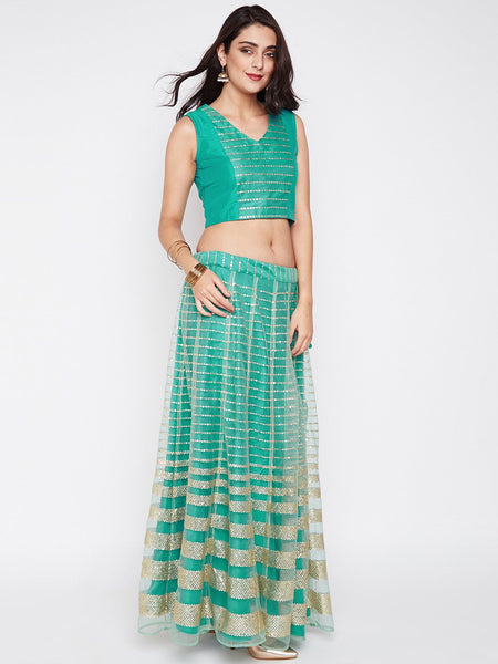 Net Sequins Embroidered Kalidaar Skirt