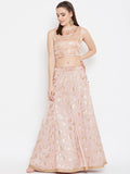 Georgette Satin Foil Printed Embellished Kalidaar Skirt