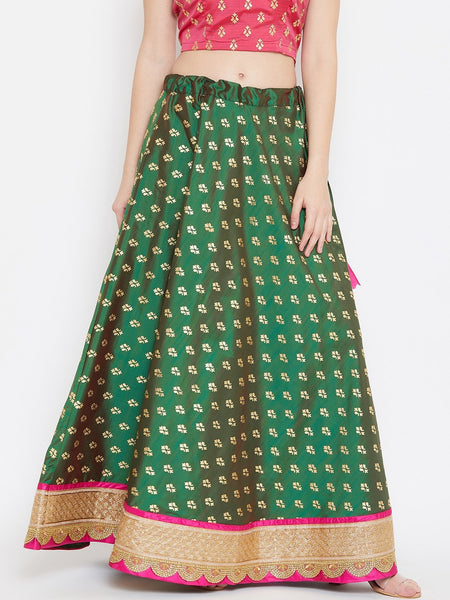 Silk Rubber Printed Embellished Bias Skirt