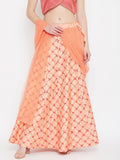 Silk Embroidered Kalidaar Skirt With Attached Net Dupatta