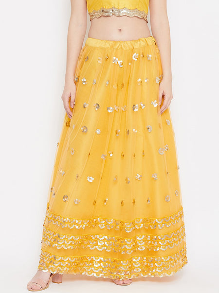 Net Sequin Embroidered Gathered Skirt