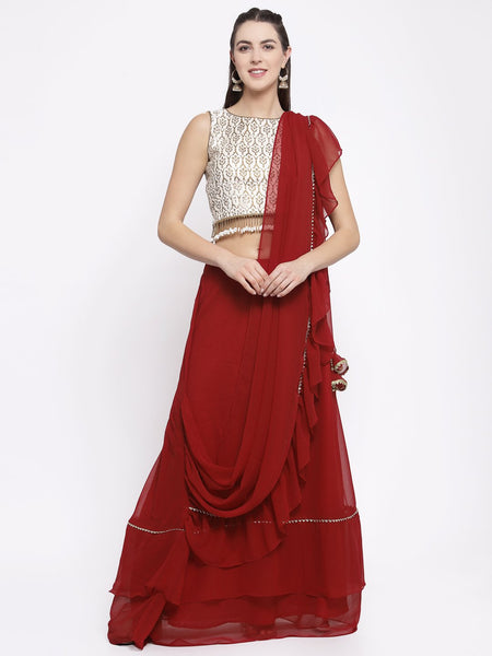 Georgette Embellished Tiered Skirt With Attached Dupatta