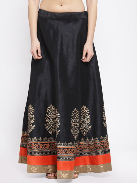 Dupion Block Printed Bias Skirt