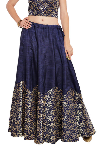 Bhagalpuri & Brocade Scallop Skirt