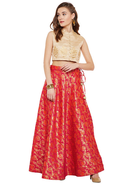 Faux Brocade Floral Skirt