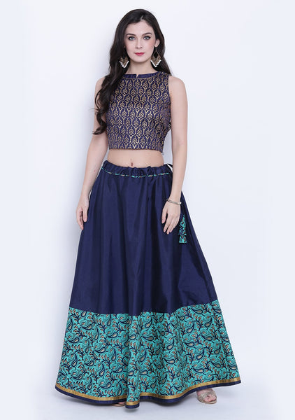 Semi-Dupion Block Printed Half and Half Skirt