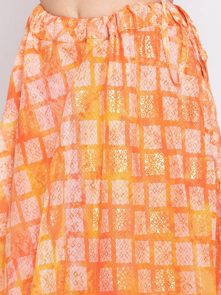 Semi-Dupion Block Printed Skirt