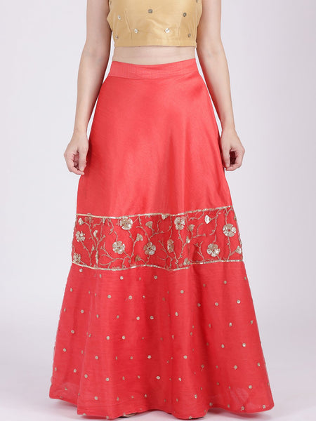 Dupion Net Embroidered Half & Half Skirt