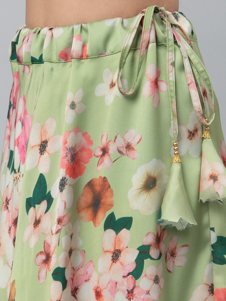 Satin Floral Printed Bias Skirt