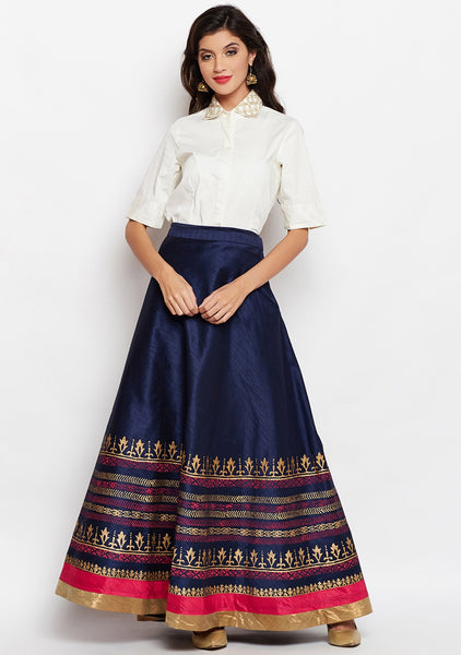 Studiorasa Semi-Dupion Block Printed Bias Skirt