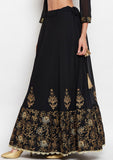 Studiorasa Georgette Block Printed Embroidered Skirt