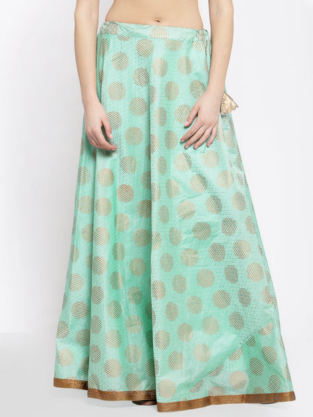 Chanderi Block Printed Bias Skirt
