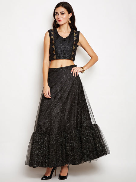 Net Speckled Tiered Skirt