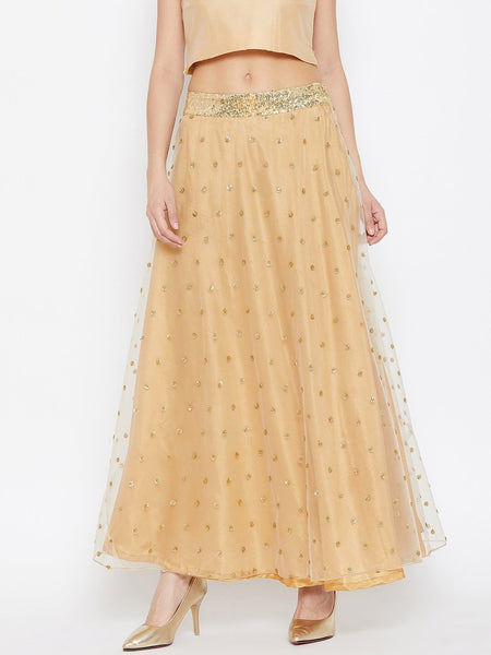 Net Sequins Embroidered Skirt