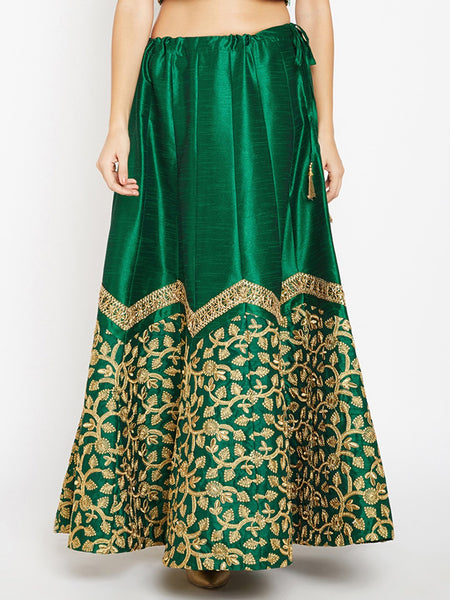Semi Dupion Embroidered Scallop Skirt