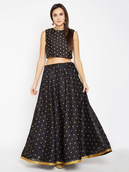 Semi Dupion Embroidered Skirt