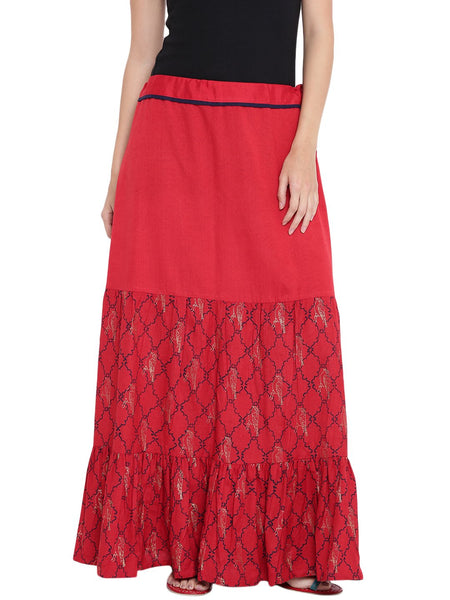 Flex Viscose Hand Block Printed Tiered Skirt