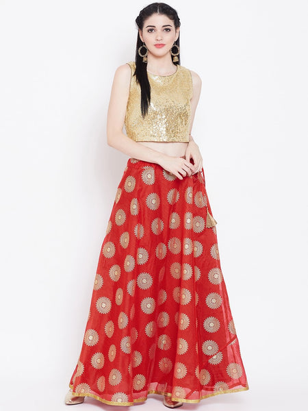 Chanderi Foil Printed Bias Skirt