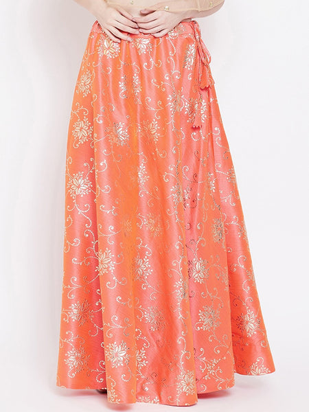 Silk Rubber Printed Bias Skirt