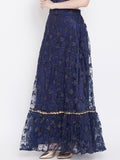 Net Floral Embroidered Embellished Tiered Skirt