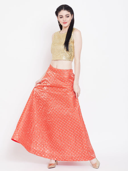 Silk Embroidered Bias Skirt