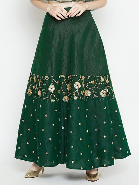 Dupion Net Embroidered Half and Half Skirt