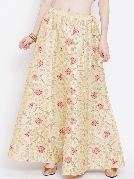 Dupion Embroidered Kalidaar Skirt