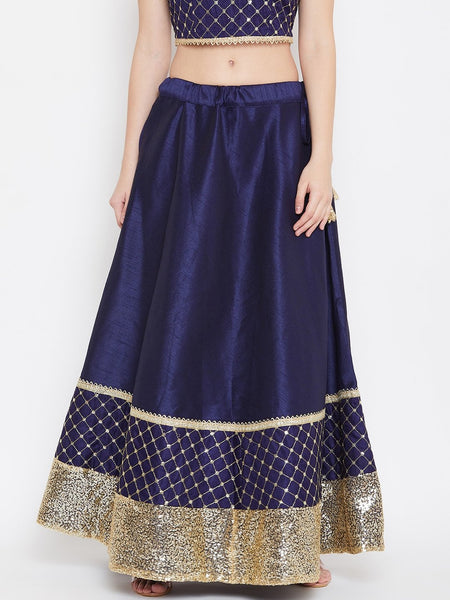 Dupion Embroidered Embellished Bias Skirt