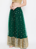Net Sequin Embellished Gathered Skirt