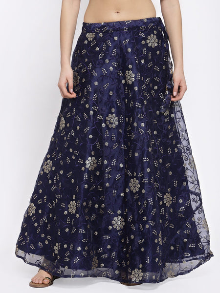 Organza Sequin Embroidered Bias Skirt