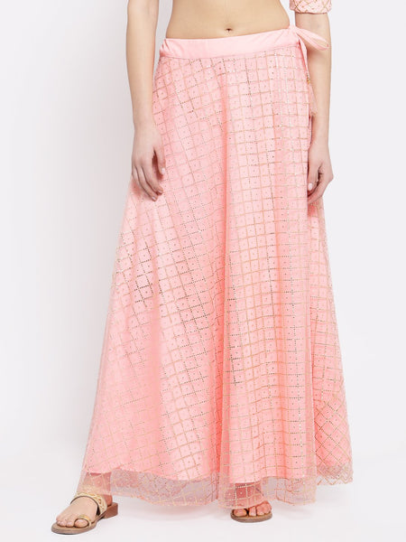 Net Foil and Crepe Bias Skirt
