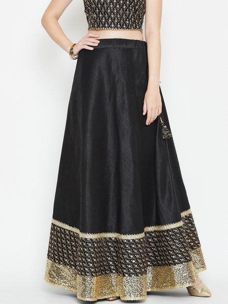 Dupion Embellished Bias Skirt
