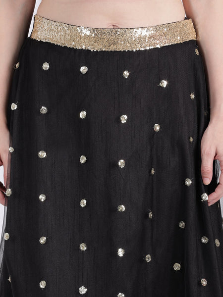 Net Sequin Embroidered Skirt