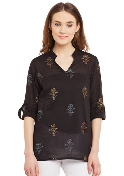 Cotton Malmal Block Printed Collar Tunic