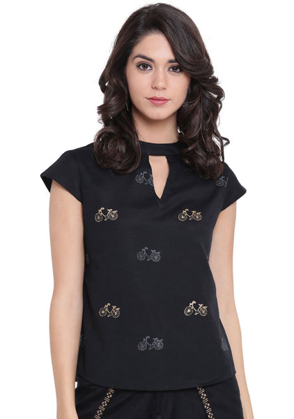 Flex Viscose Hand Block Printed Collar Top