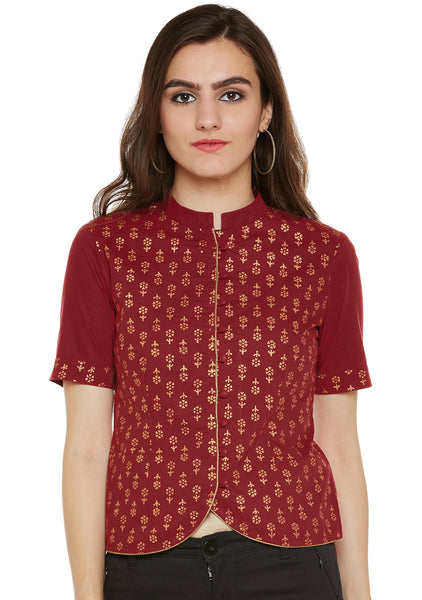 Cotton Block Printed Button Down Top