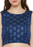 Georgette Phulkari Embroidered Crop Top