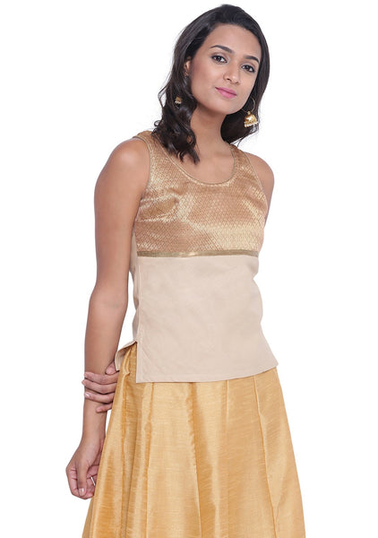 Poly Brocade & Cotton Empire Line Line Top beige