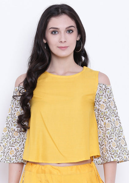 Cotton Viscose Printed Cold Shoulder Top