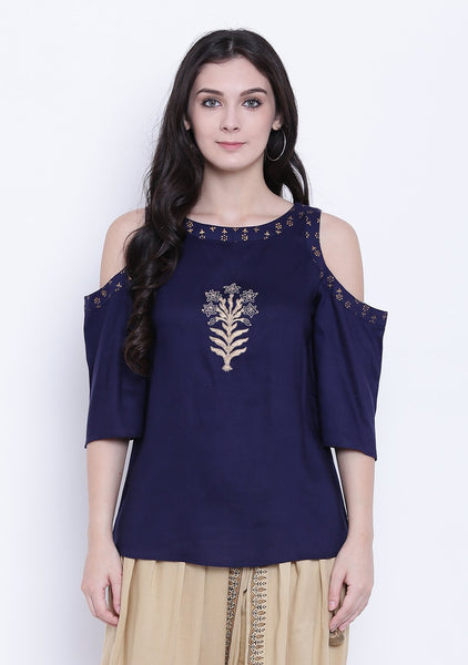 Cotton Viscose Block Printed Cold Shoulder Top