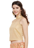 Faux Chanderi Zari Checks Crop Top