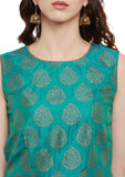 Faux Munga Silk Block Printed Crop Top