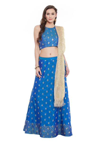 Banarasi Dupion Hand Block Printed Crop Top