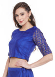 Bhagalpuri Dupion Hand Block Printed Crop Top