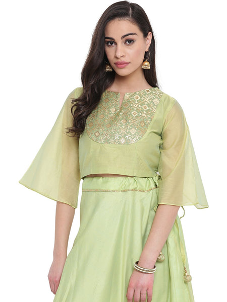 Faux Chanderi Flared Sleeves Crop Top