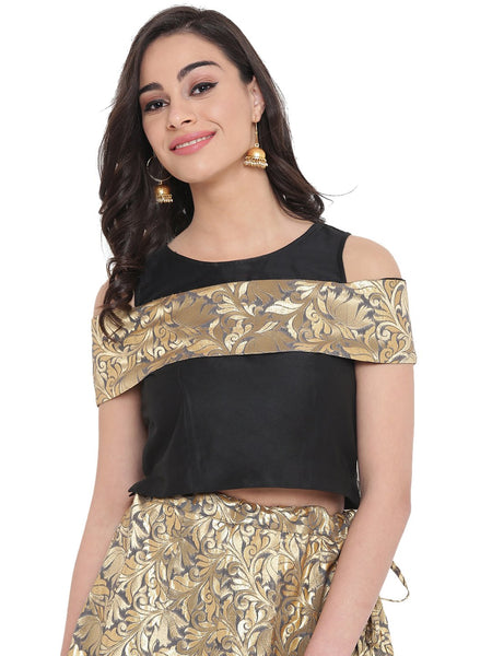 Cotton Silk & Brocade Cold Shoulder Crop Top